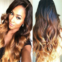 Z&F 30inch Black&Brown Blonde Ombre Long Wig Natural Wave Cu...