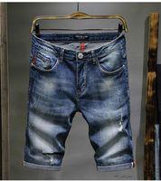 Denim-blaue Kurzschlüsse der Art- und Weisemänner Sommer-beiläufige knielange kurze Lochjeans-Kurzschlüsse plus Größe 28-38
