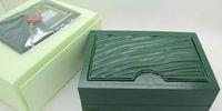 2019 Mans Bilek Saatler Kutuları İsviçre Üst Markalar Yeşil Kutu Kağıt erkek Izle Kitapçığı Kart İngilizce Erkekler Için Toptan ücretsiz kargo