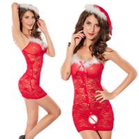 Noel Cosplay parti elbise kadınlar seksi dantel kırmızı elbise ile spagetti kayışı bodycon elbiseler tüy tasarım rol oynamak kadın kostümleri