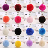 Now Real Rabbit Fur Ball Keychain Soft Fur Ball Lovely Gold ...