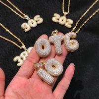 Benutzerdefinierte Name Buchstaben Anhänger Halsketten Herren Zirkon Hip Hop Schmuck mit 3mm Gold Silber Seilkette