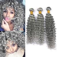 회색 인간의 머리카락이 깊은 웨이브 3 묶음 원시 인도 버진 헤어 회색 곱슬 머리 인간의 머리카락 확장 순수한 회색 더블 Weft 100g / 번들