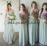2018 sabio barato verde dama de honor vestidos una línea de gasa pliegues pliegues de larga playa boho dama de honor vestido de invitados de la fiesta de bodas del país