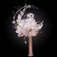 하이 엔드 정의 아름 다운 문 스타일 흰색 수 국 크리스탈 신부 결혼식 신부 꽃다발