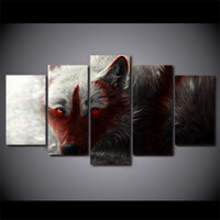 HD Printed 5 Piece Canvas Art Scary Wide Wolf With Red Eye P...