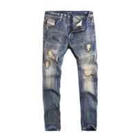 High Street Moda Uomo jeans vintage Fit Straight Distrutta jeans strappati Homme Hip Hop punk Pantaloni uomo classico