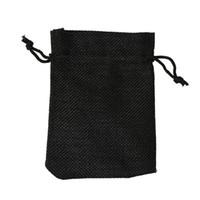 أسود 7x9 سنتيمتر 9x12 سنتيمتر 10x15 سنتيمتر 13x18 سنتيمتر البسيطة الحقيبة الجوت حقيبة الكتان القنب مجوهرات هدية الحقيبة الرباط أكياس لحضور الزفاف، الخرز