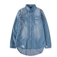 Atacado outono nova denim dos homens camisa longa buraco estilo casaco de moda camisa jeans slim outwear tamanho S-XXL FRETE GRÁTIS