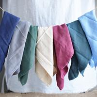 7PCS Nordic Brief Lin Coton Serviette de cuisine Torchons rideau de poussière Couverture repas chiffon propre place Tissu Pad
