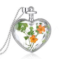 Vidrio de la manera Collares Verde Flor Seca Corazón de Cristal Collar Colgante de Plata Collar de Cadena Larga Buena Jewerly Para Las Mujeres