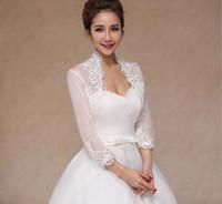 Ny brudjacka med långärmad spets bröllop bolero plus storlek 3/4 ärmar applique elfenben tulle bröllop jacka