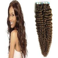 Cilt Atkı Kıvırcık Cilt Atkı Uzantıları 100g İnsan Saç Görünmez Gerçek Saç Bant 1 paket Remy Saç