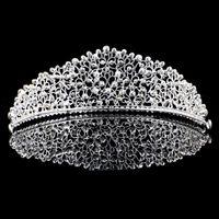 Köpüklü Gümüş Büyük Düğün Için Diamante Pageant Tiaras Hairband Kristal Gelin Taçlar Gelinler Saç Takı Başlığı