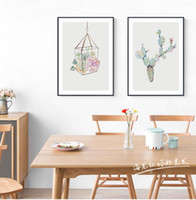 Watercolor succulent plant cactus flower poster printing Nor...