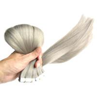 Extensions de bande double tirée de cheveux gris brésiliens 100G 40pcs cendres peau blonde Trame Extensions de cheveux Bande 8a Micro Link Extensions de cheveux Humain