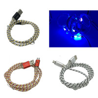 New Aluminum Braided Visible LED Lighting Micro USB Charger ...