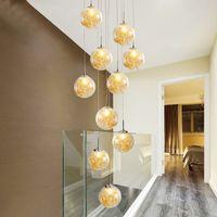 Art deco mão circular villa costume soprado espiral de vidro rodada pendurado tectos altos escadaria luzes modernas para casa chandelier