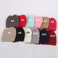 Tricot Kid Crochet Hat Bonnets Filles Garçons Hiver chaud Pompon Casquettes dégoulinent Chapeaux à la mode 12 Couleurs