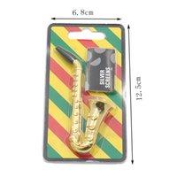 Metallrohr-Set Kit Mini Saxophon Trompete Lautsprecher Sax Form Tabakpfeifen Rauchen Herb Zigarette Rohr mit Screens Mesh-Filter Gold Farbe