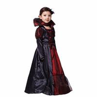 Дети Девушка Готического Вампира Хэллоуин костюмы для детей принцессы Косплей Длинного карнавала партии платье Vampire Косплея