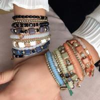 Perles à la main Turquoise Bracelet en cristal Bracelet à corde élastique pour femmes pour femmes Bracelet Bracelet Bracelet Accessoires