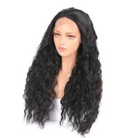 الجملة الرباط الباروكات الجبهة النساء طويل أسود مجعد الاصطناعية باروكات الشعر 18-26inch مقاومة الحرارة مصنع رخيصة مباشرة