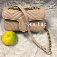 Genuine di lusso in pelle di design cuore Borse Purses Amore V Motivo a onde Satchel Shoulder Bag catena borse borsa Crossbody della borsa della signora Tote