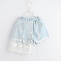 Summer 2019 new Girls Jeans lace Denim Girls shorts tassels ...