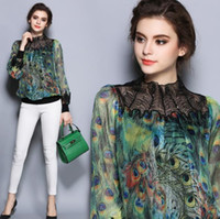 The peacock printed women's chiffon unlined upper garment of European fashion lace collar loose long-sleeved blouse