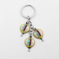 Actividades al aire libre del metal del envío de DHL 100pcs / lot Nueva creativo Llaveros Mini Hot Air Balloon Llaveros para regalos de la promoción