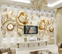 New 5D Wall Panel TV Wallpaper Marble Diamond Jewelry Rose B...