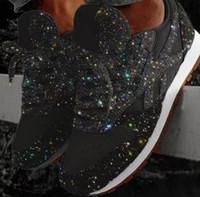 Las nuevas mujeres con las zapatillas de deporte de la plataforma más largomas de las mujeres zapatillas de diseño de zapatos de encaje con lentejuelas zapatos de boda fiesta de moda 35-43