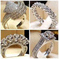 30 stks / partij Gemengde Crystal White Ronde Single Ring Merk Luxe Promise Zilveren Verlovingsring Vintage Bruids Trouwringen voor Vrouw