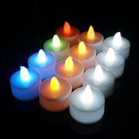 LED Mum Çay Işık Alevsiz Tealight Renkli Alev Yanıp Sönen Mum Lamba Düğün Doğum Günü Partisi Noel Işık Dekorasyon DBC VT1721
