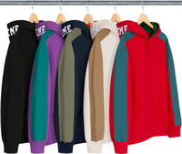 18FW Paneled Hooded Sweatshirt color matching LOGO hoodie co...