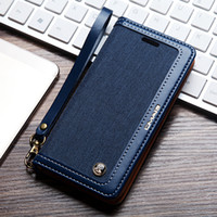 Retro Denim Ledertasche für Samsung Galaxy S9 und S8 S7 Edge Note 8 9 Note9 Fall Zwei-Ton Magnetic Flip Wallet Phone Cover