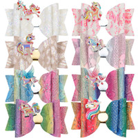 3. 5 Inch Baby Girl Hair Clips Unicorn Bow Barrettes Hairbow ...