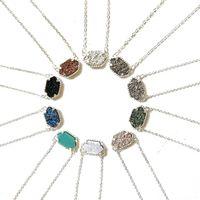 Neue Druzy Stone Anhänger Halskette für Frauen Geometrische Heilung Naturstein Silber Ketten Modeschmuck in der Masse