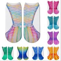 Sereia 3D Socks Cauda da sereia Praia Meias sereia Moda Meias Harajuku Digital Impresso Cosplay Escalas de peixes Sock engraçado Bota Meias B4578