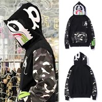 Mouse Printed Man Shark Applique Patch Hood Sweat Jogging Sw...