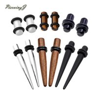 wholesale 12Pcs Wood Stainless Steel Stone Mixed Ear Sretchi...