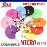 100 unids teléfono celular 2M colorido Noodle Cable plano V8 Micro USB Cable de datos para Samsung S3 / S4 Xiaomi Micro USB Cable envío gratis