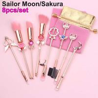 8pcs Pennelli trucco Set Sailor Moon Magico Sakura Carino Pennello Cosmetico Sopracciglio Cipria Cipria Blending Blush Concealer Brushes