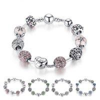 Çiçek Boncuk Kadınlar Düğün Takı ile Antik Gümüş Charm Aşk Tasarımcı Bilezik Bileklik 4 Renkler 18cm 20cm 21cm