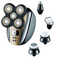 Barbeador de cabeça de barbear elétrico para homens calvos, kit de grooming 5 em 1 À prova d'água USB barbeadores nariz cabelo barba trimmer clippers escova de limpeza facial
