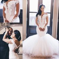저렴한 우아한 웨딩 드레스 어깨 오프 섹시한 아프리카 인어 아랍어 플러스 사이즈 웨딩 드레스 롱 슬리브
