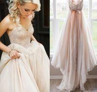 Романтические румянцы розовые свадебные платья 2020 новый дизайн пользовательские горячие продажи развертывающие поезду A-Line кружева садовые свадебные платья Vestidos de Novia W615