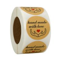 1 polegada 1000pcs artesanal com amor kraft papel presente adesivo de pacote de produtos assados cartão etiqueta etiqueta etiqueta diy pacote de pacote adesivo