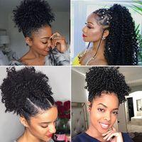 Brasileira Virgem Humana Remy Kinky Curly Curly Cabelo Extensões Clips Clips África Human Bonytail Extensão Natural Preto 1B para mulheres negras